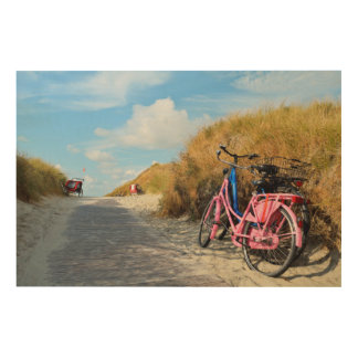 Path To Beach With Bicycles | Norderney, Germany Wood Print