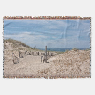Path to the sandy beach at Race Point Throw Blanket