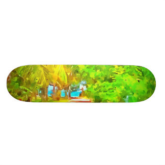 Path with greenery on both sides 20 cm skateboard deck