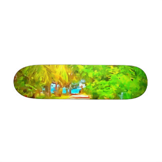 Path with greenery on both sides skate board