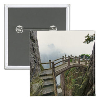 Pathway and small bridge, Yellow Mountain, 2 15 Cm Square Badge