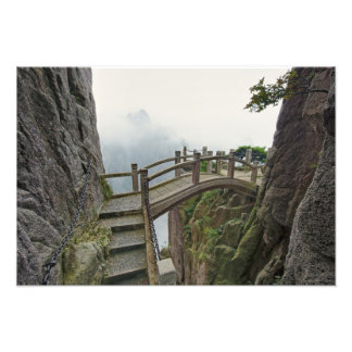Pathway and small bridge, Yellow Mountain, 2 Photo Print