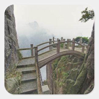 Pathway and small bridge, Yellow Mountain, 2 Square Sticker
