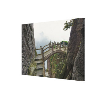 Pathway and small bridge, Yellow Mountain, Stretched Canvas Print