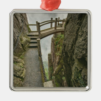Pathway and small bridge, Yellow Mountain, Christmas Ornament