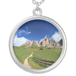 pathway in Italian Dolomites Round Pendant Necklace