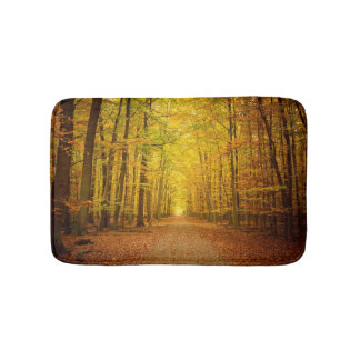 Pathway in the autumn forest bath mats