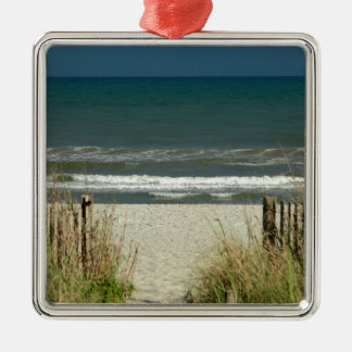 Pathway to the Ocean Waves Silver-Colored Square Decoration