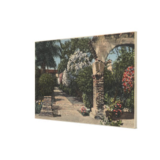 Pathways of the Patio Mission Garden Stretched Canvas Print