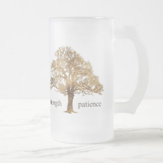 PATIENCE AND STRENGTH TREE FROSTED GLASS MUG