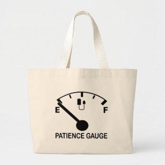 Patience Gauge Empty funny graphic slogan Jumbo Tote Bag