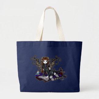 """""""Patience"""" Reading Victorian Faery Large Tote Bag"""