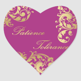 Patience Tolérance - Fuschia & Gold Floral Sticker