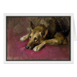 Patient Alsatian by Marino Lenci Greeting Card