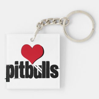 Patiently Waiting (heart pitbulls) Key Ring