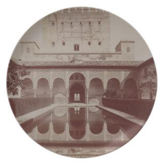 Patio de los Arrayanes, Alhambra, c.1875-80 (sepia Dinner Plate