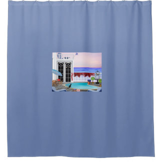 Patio Ocean View Shower Curtain