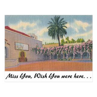 Patio, Old Mission Plaza, Los Angeles Postcard