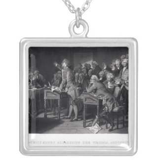 Patrick Henry addressing the Virginia Assembly Silver Plated Necklace