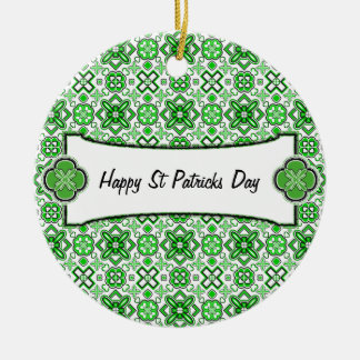 Patrick Pattern Rich Green Double-Sided Ceramic Round Christmas Ornament