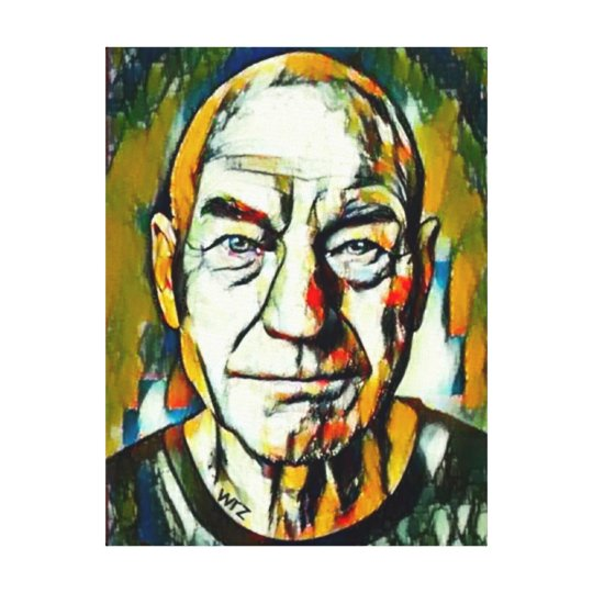 Patrick Stewart Oil Portrait Canvas Print