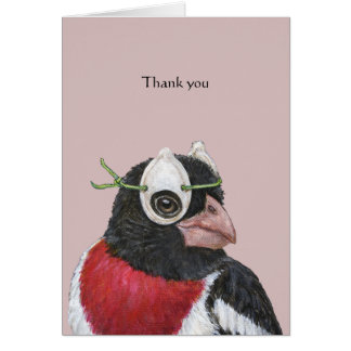 Patrick the rose-breasted grosbeak thank you card