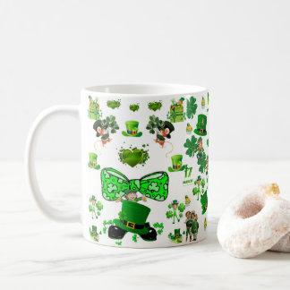 Patricks day white shamrock coffee tea mug