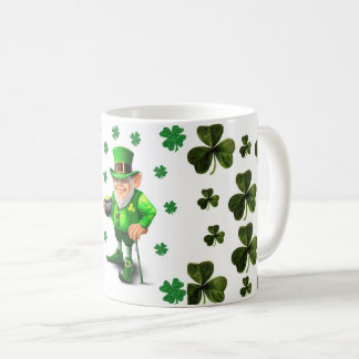 Patricks day white shamrock coffee tea mug