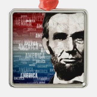 Patriot Abraham Lincoln Silver-Colored Square Decoration