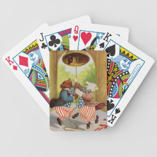 Patriot Bears Ring the Liberty Bell Bicycle Poker Cards