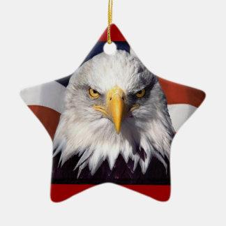 Patriot Eagle and Flag Christmas Ornament