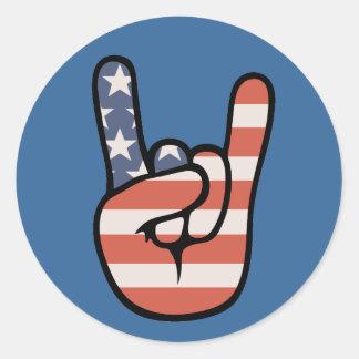 Patriot Rock Hand Round Sticker