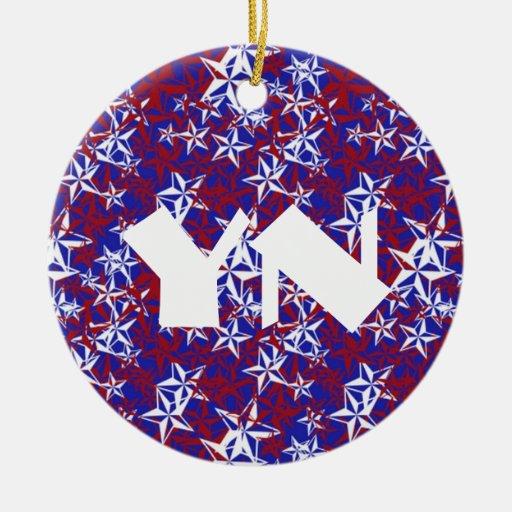 Patriot Stars monogrammed Christmas Tree Ornaments