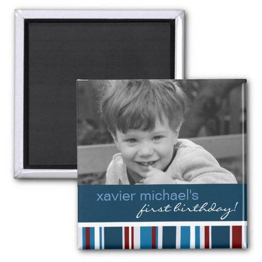 Patriot Stripe Birthday Photo Magnet