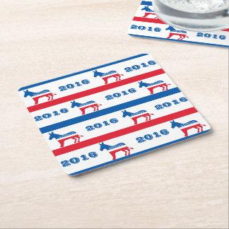 Patriotic 2016 Democrat Donkey Stripes Square Paper Coaster