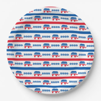 Patriotic 2020 Republican Elephant Stripes 9 Inch Paper Plate