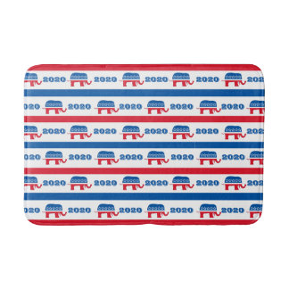 Patriotic 2020 Republican Elephant Stripes Bath Mats