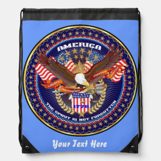 Patriotic 4th July View About Design Drawstring Bags