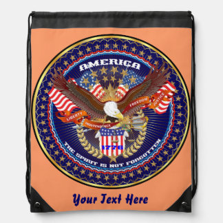 Patriotic 4th July View About Design Drawstring Bag