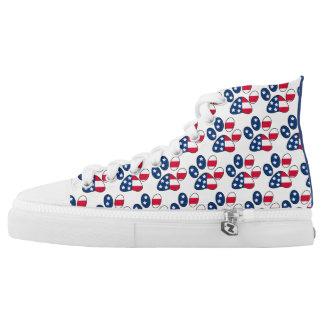 Patriotic 4th of July Paw Print Hi-Tops Printed Shoes