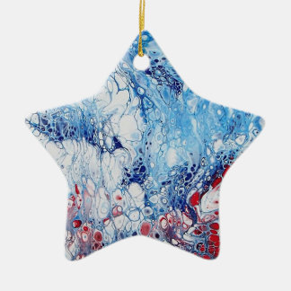 Patriotic Abstract Art on Star Ornament