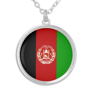 Patriotic Afghan Flag Silver Plated Necklace