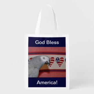Patriotic African Grey Parrot Reusable Grocery Bag