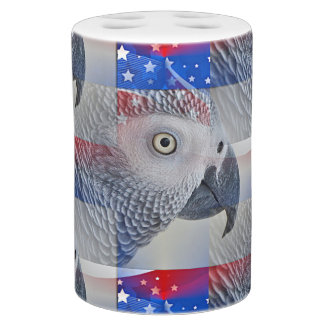 Patriotic African Grey Soap Dispenser And Toothbrush Holder