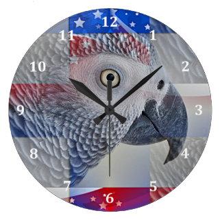 Patriotic African Grey Wall Clocks