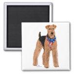 Patriotic Airedale Terrier Square Magnet
