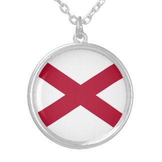 Patriotic Alabama State Flag Silver Plated Necklace