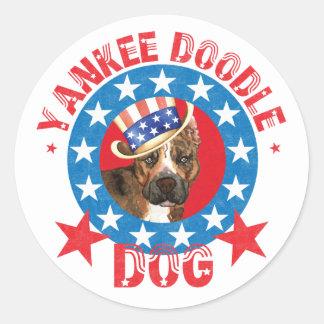 Patriotic Am Staff Round Sticker