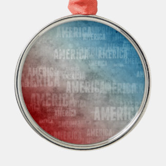 Patriotic America Text Graphic Silver-Colored Round Decoration