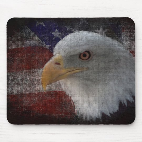Patriotic American Bald Eagle on Flag Mouse Mat